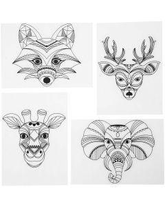 Fogli di plastica restringente con motivi, animali selvaggi, 10,5x14,5 cm, trasparente opaco, 4 fgl./ 1 conf.