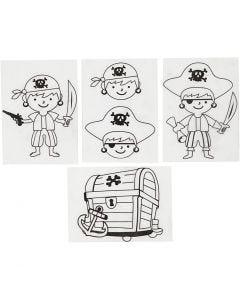 Fogli di plastica restringente con motivi, pirati, 10,5x14,5 cm, trasparente opaco, 4 fgl./ 1 conf.