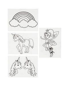 Fogli di plastica restringente con motivi, unicorni, 10,5x14,5 cm, trasparente opaco, 4 fgl./ 1 conf.