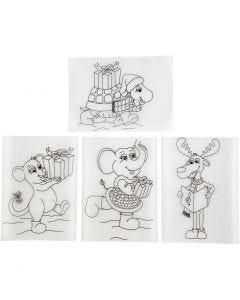 Fogli di plastica restringente con motivi, 10,5x14,5 cm, trasparente opaco, 4 fgl./ 1 conf.