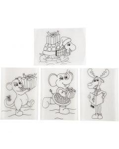 Fogli di plastica restringente con motivi, 10,5x14,5 cm, trasparente opaco, 36 fgl./ 1 conf.
