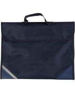 Borsa per la scuola, P 9 cm, misura 36x29 cm, blu scuro, 1 pz