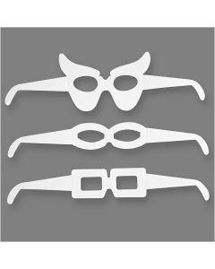 Occhiali maschera, H: 4,5-10 cm, L: 32 cm, 230 g, bianco, 16 pz/ 1 conf.