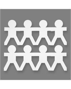 Bambole di carta maschi, H: 12 cm, L: 45 cm, 230 g, bianco, 16 pz/ 1 conf.