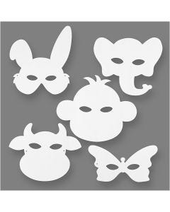 Maschere da animali, H: 13-24 cm, L: 20-28 cm, 230 g, bianco, 16 pz/ 1 conf.