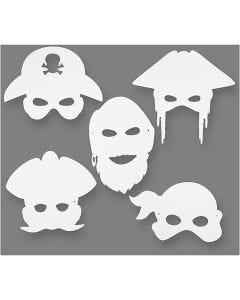 Maschere da pirati, H: 16-26 cm, L: 17,5-26,5 cm, 230 g, bianco, 16 pz/ 1 conf.