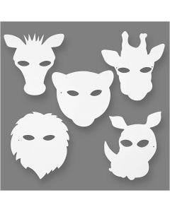 Maschere da animali della giungla, H: 22,5-25 cm, L: 20,5-22,5 cm, 230 g, bianco, 16 pz/ 1 conf.