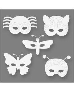Maschere da insetti, H: 14-17 cm, L: 19,5-23 cm, 230 g, bianco, 16 pz/ 1 conf.