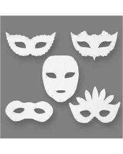 Maschere masquerade, H: 8,5-19 cm, L: 15-20,5 cm, 230 g, bianco, 16 pz/ 1 conf.