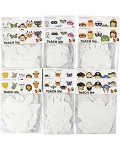 Maschere in cartoncino, H: 15-22 cm, L: 24-25 cm, 230 g, bianco, 192 pz/ 1 conf.