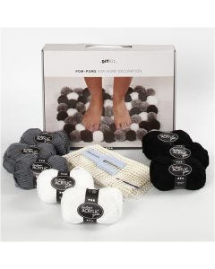 Kit filo fai-da-te - Pompoms per decorare, grigio marrone, 1 set/ 1 scatola
