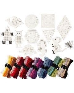 Figure da ricamare con filo da ricamo, misura 8-17 cm, colori asst., 1 set