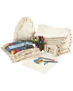 Sacche e shopping bag con pennarelli, misura 27,5x30 cm, colori asst., 1 set