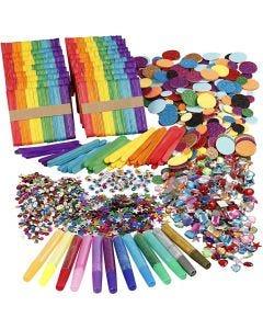 Glitter e bastoncini di legno, colori asst., 1 set
