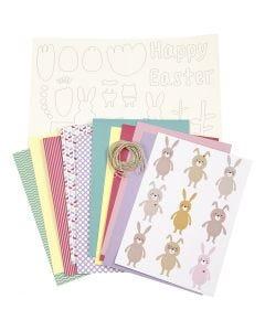Kit decori pasquali fai-da-te, colori pastello, 1 set