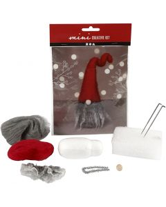 Mini kit creativo, Gnomo di Natale con barba grigia, H: 13 cm, 1 pz/ 1 set