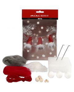 Mini kit creativo, Gnomo di Natale su una corda, H: 6 cm, 1 set