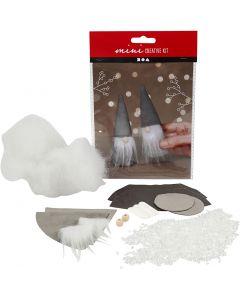 Mini kit creativo, Gnomi di Babbo Natale scandinavi, H: 12 cm, grigio, 1 set