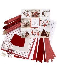 Set di materiale da intrecciare e piegare, rosso, bianco, 1 set
