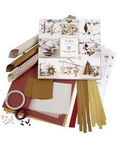 Set di materiale da intrecciare e piegare, oro, rosso, 1 set