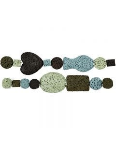 Assortimento perle luxury, diam: 6-37 mm, misura buco 2 mm, armonia blu/verde, 1 set