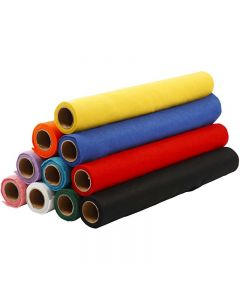 Feltro, L: 45 cm, spess. 1,5 mm, 180-200 g, colori asst., 10x1 m/ 1 conf.