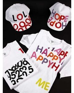 Caps and t-shirts with letter prints