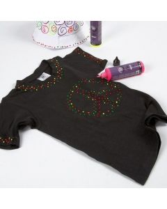 T-Shirt nera decorata con 3D Liner