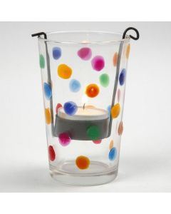A Candle Holder decorated with colourful Dots