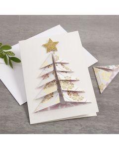 Un biglietto d'auguri natalizio con albero di Natale 3D in carta fantasia Vivi Gade