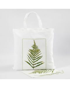 Shopping bag con fantasia a foglia e bordo ricamato