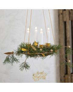 Una corona dell'avvento da appendere con portacandele in filo da bonsai e decorazioni in finta pelle