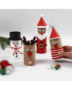 Christmas figures from cardboard tubes with decorations