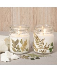 Rapeseed wax candles in a glass jar decorated with dried flowers