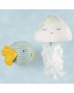 A jellyfish and a fish from a rice paper lamp decorated with craft paint and tissue paper