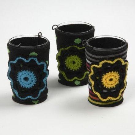 Porta tealight con una calza decorativa