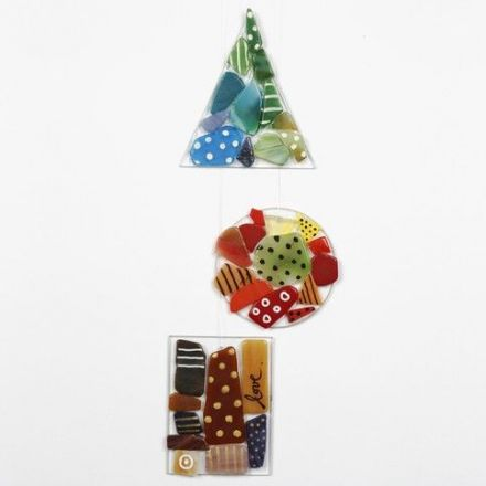 Mosaic and Glass & Porcelain Marker on Glass Hanging Decorations