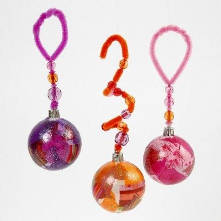 Plastic Christmas Baubles with Tissue Paper