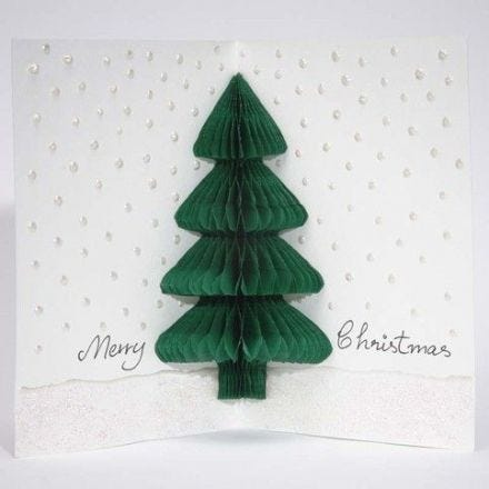 A Christmas Card with a Concertina Christmas Tree
