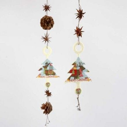 Hanging Decorations with Felt Shapes, natural Materials & Bells