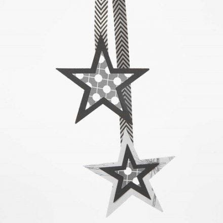 Hanging Decorations made from Layered Paper Stars on a Ribbon