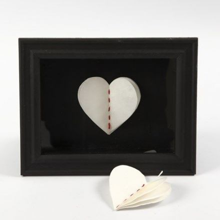 A 3D framed Heart made from Layers of handmade Paper