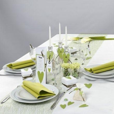 Decorazioni per la tavola bianche e verdi di Happy Moments