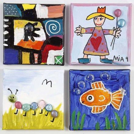 Dipinti decorati con vetro decorativo incollato su tela