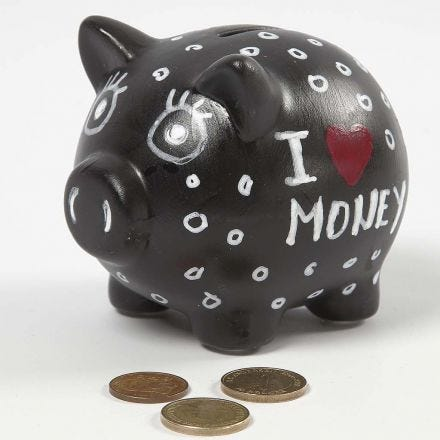 A black Terracotta Money Box with Marker-Drawings