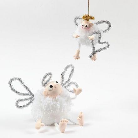 Un angelo fatto di pom-pom con Silk Clay e scovolini