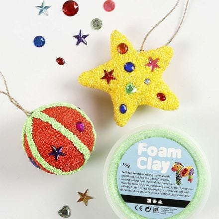 Papier-Mâché hanging Decorations with Foam Clay and Rhinestones