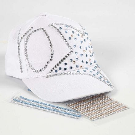 A Cap with a Sign and a Design from Rhinestones