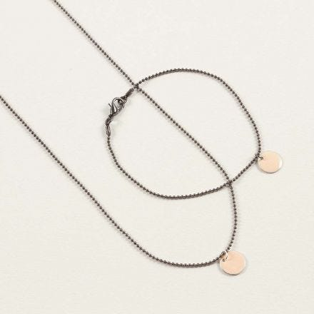 Black Bead Chain Jewellery with Gold Pendants