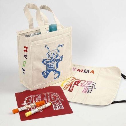 Borse di tendenza e cuscini da picnic decorati con Paint Sticks per stoffa